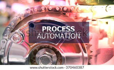 PROCESS AUTOMATION  on the Mechanism of Metal Cogwheels background ,  innovation concept , business concept, business idea - stock photo