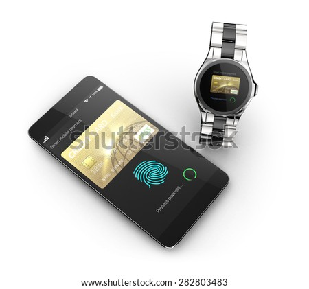 Process internet shopping payment by smart phone and smart watch's payment app. 3D rendering image with clipping path. - stock photo