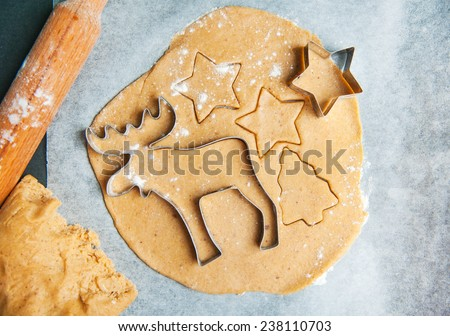 process of baking christmas cookies at home - stock photo