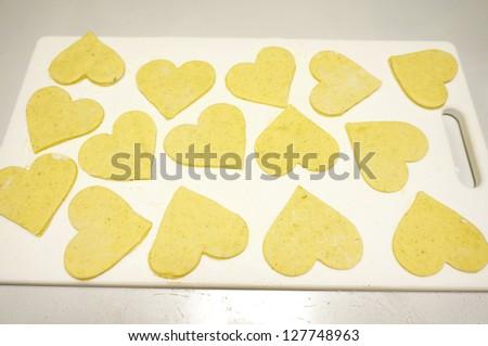 Process of Heart Shaped Bread - stock photo