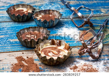 process of making coffee muffins on wooden countertop in rustic style.Photo tinted.Selective focus - stock photo