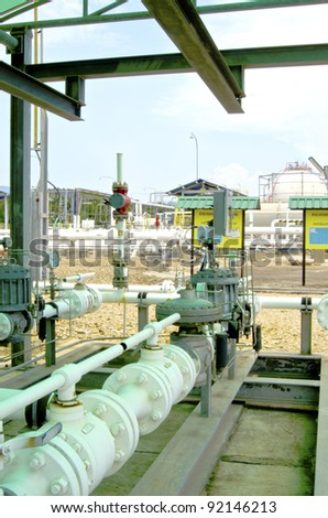 Process pipeline gas with completed valve at metering gas station. - stock photo