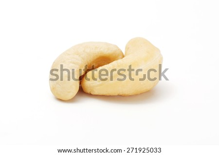 Processed cashew isolated on white background with clipping path - stock photo