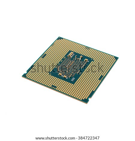 processor from the bottom up - isolated on white background - stock photo
