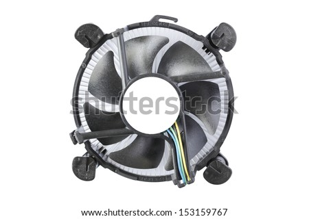 Processor heat sink cooler fan isolated on white background - stock photo