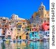 Procida, beautiful island in the mediterranean sea, naples. hdr - stock photo