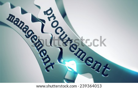 Procurement Management Concept on the Mechanism of Shiny Metal Gears. - stock photo