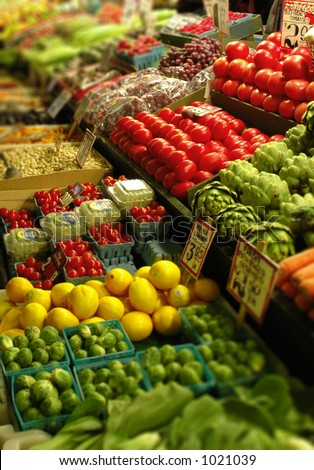 produce stand at public market - stock photo