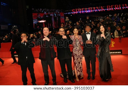 Producer Wang Yu, actress Xin Zhi Lei, director Yang Chao and guests attend the closing ceremony of the 66th Berlinale  Film Festival on February 20, 2016 in Berlin, Germany. - stock photo