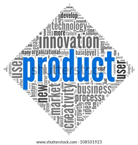 Product and creativity concept related words in tag cloud of diamond shape on white background - stock photo