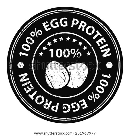 Product Information Material or Ingredient, Black Circle 100 Percent Egg Protein Grunge Sticker, Rubber Stamp, Icon, Tag or Label Isolated on White Background - stock photo
