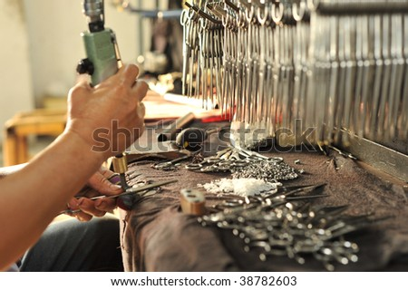 Product manufacturing assembly - stock photo