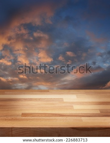 Product photo template wooden table evening sky background - stock photo