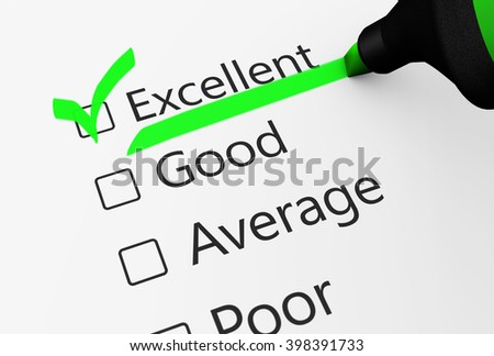 Product quality control business survey and customer service checklist with excellent word checked with a green check mark 3D illustration. - stock photo