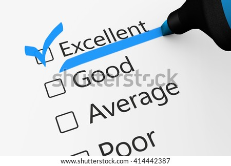 Product quality control business survey and customer service checklist with excellent word checked with a blue check mark 3D illustration. - stock photo