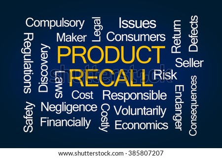 Product Recall Word Cloud on Blue Background - stock photo