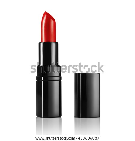 Product shot of a lipsticks isolated on a white background. Background for cosmetics advertising. Concept image with big copy space. - stock photo