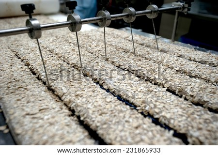 production cookie in factory - stock photo