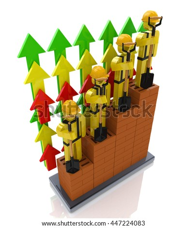 Productivity progress growth in the construction industry - professional growth in the design of information related to business and people. 3d illustration - stock photo