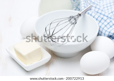 products and tools for baking pancakes, horizontal - stock photo