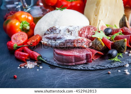 Products for pizza - stock photo
