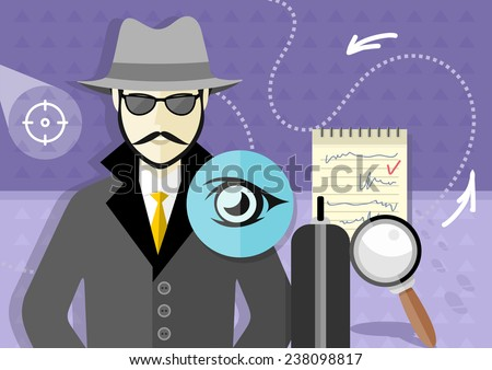 Profession series with young mustached male detective in hat, coat  and sunglasses  tracking down criminals. Raster version - stock photo