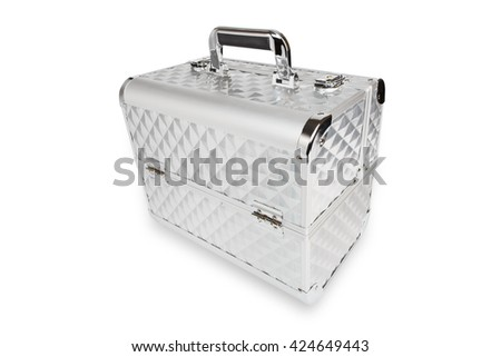 Professional aluminum makeup box isolated at white background. Make up case for professional make-up artist. Beautician tools silver metal suticase.  - stock photo