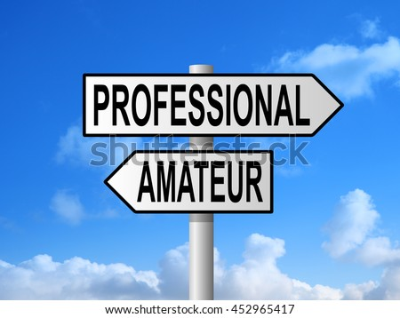 Professional and amateur road sign post against blue sky - stock photo