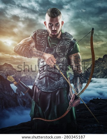 Professional archery target in the mountains, close-up - stock photo