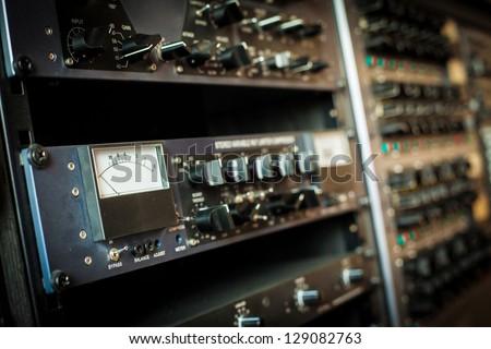 Professional audio equipment in studio - stock photo