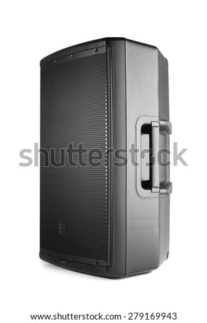 professional audio speaker PA, isolated on white - stock photo