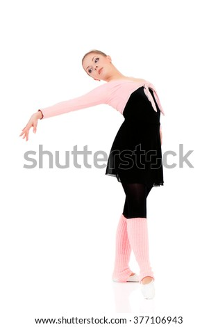 Professional ballet dancer, isolated on white background - stock photo