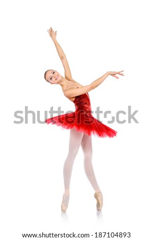 Professional ballet dancer posing at studio. Isolated over white background.  - stock photo