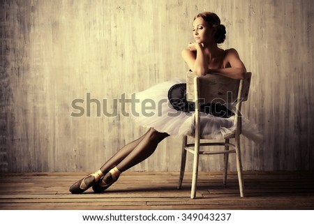 Professional ballet dancer resting after the performance. Art concept.  - stock photo