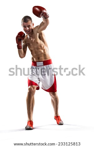 professional boxer are fighting isolated in white - stock photo