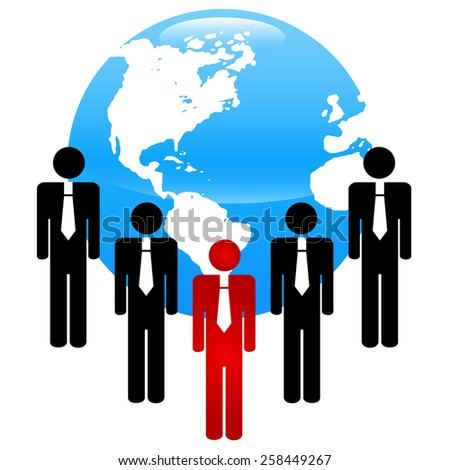 Professional business team with bright leader - stock photo