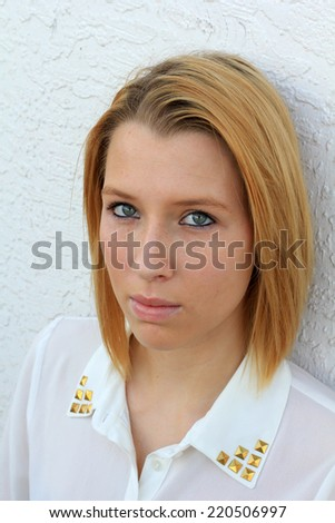 Professional Business Woman Blonde Hair Serious Teen College Student Outside Natural Pose - stock photo