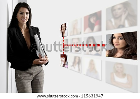 Professional business woman with a networking concept of friends and colleagues. - stock photo