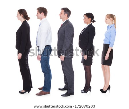 Professional Businesspeople Standing In A Line Over White Background - stock photo