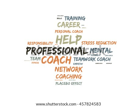 Professional coach word cloud shaped as a cross - stock photo
