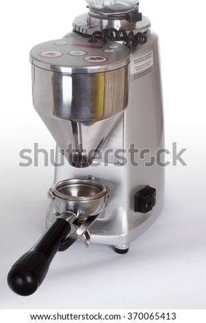 Professional coffee grinder isolated on white background - stock photo