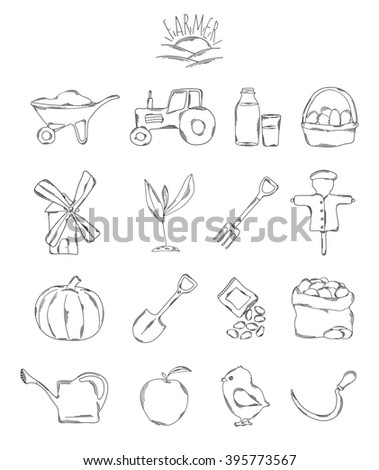 Professional collection of icons and elements. A set of farmer, farm hand drawn elements, doodles isolated on white background. illustration - stock photo