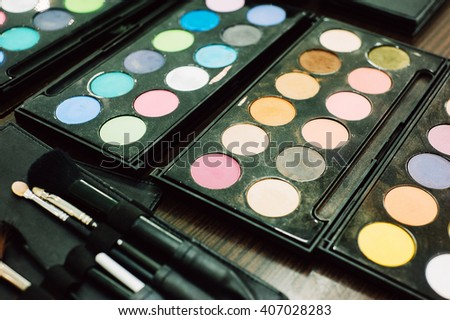 Professional colored eyeshadow palette for makeup artists and personal use - stock photo