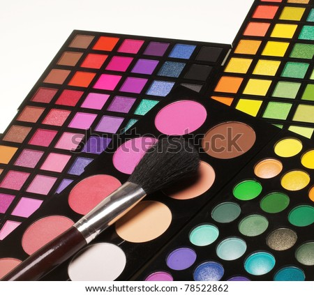 Professional cosmetics. Eye-shadow,rouge,powder. - stock photo