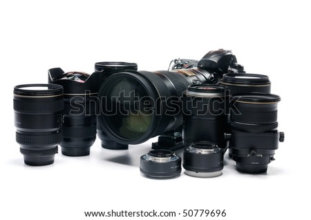 professional digital photo camera against white background - stock photo