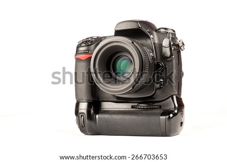 Professional digital SLR camera with lens and vertical battery grip over white background - stock photo