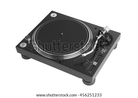professional dj turntable isolated on white - stock photo