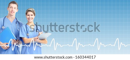 Professional doctor over healthcare background. Health care banner. - stock photo