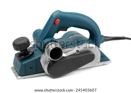 Professional electric planer, studio shot. Isolate on White. - stock photo