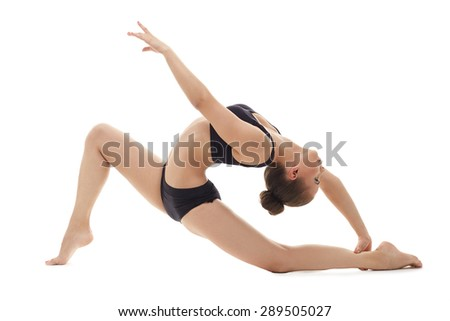 Professional female gymnast, isolated on white - stock photo